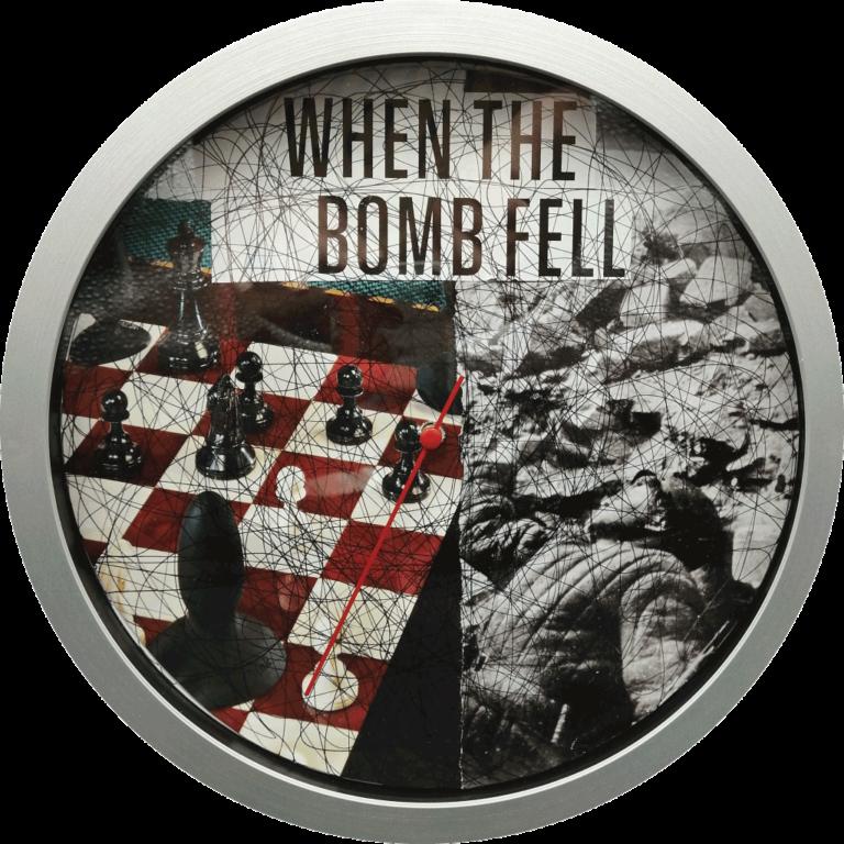 When the bomb fell - 25cm diameter collage - wall clock,paper,glue,pen